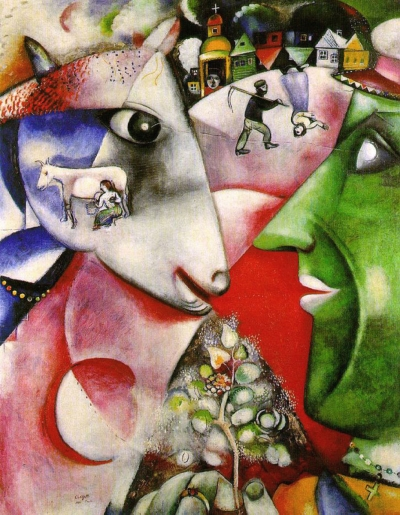 Photo: Marc Chagall - me and the village. 1911. Globalization of thought. Symbolism: the individual thinks (a young farmer on the right) and unites the representation in a consciousness (the cow on the left and all internal and external symbols)-all subjective and objective representations. The two looks are connected by a line.