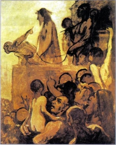 "Picture: ""We want Barabbas"" a 1850 work by Honorè Daumier. In the background, at the top, Pontius Pilate asks the crowd who should be set free: Christ or Barabbas, a robber. The monochrome painting uses colours almost shapeless to represent the gullible crowd which believes in every statement, since it has no conscience. The close-up shows a father who holds his son: he is looking vicious and is urging his son to make the same decision: ""Give us Barabbas!"" Therefore the controlled crowd is, in turn, controlling the most naive and weak persons. At the top, Pilate (who embodies power) points at Christ with the purpose of influencing the decision of the crowd; actually, the ignorant masses can be easily excited."
